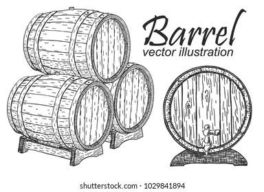 Wooden barrel set. Black and white vintage engraving vector illustration.
