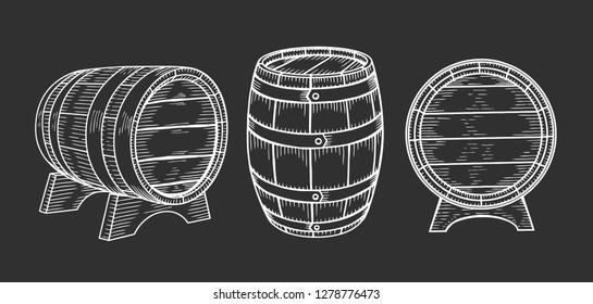 Wooden barrel set. Engraving vintage vector black illustration. Isolated on white background. Hand drawn design element for label and poster