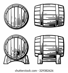 Wooden barrel set. Engraving vintage vector black illustration. Isolated on white background. Hand drawn design element for label and poster