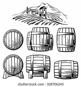 Wooden barrel set and  rural landscape with villa, vineyard fields, hills, mountains. Engraving vintage vector black illustration. Isolated on white background. Hand drawn design element for label