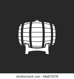 Wooden barrel sign simple icon on background