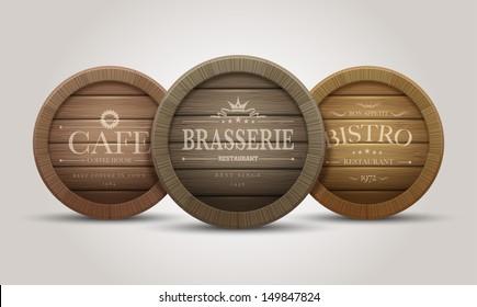 Wooden barrel signboards for cafe, restaurant, bistro, brasserie, beer, wine or whiskey. Vector illustration.