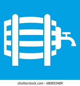 Wooden barrel with tap icon white isolated on blue background vector illustration