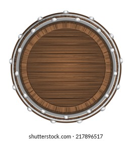 wooden barrel top object 3D design isolated on white vector illustration