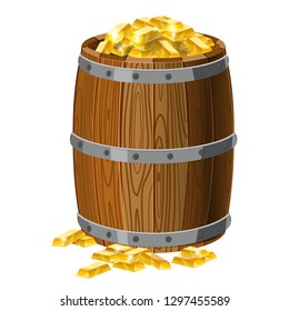 Wooden barrel with treasures, gold bars, with metal stripes, for alcohol, wine, rum, beer and other beverages, or treasures, gunpowder. Isolated on white background. Vector illustration. Cartoon style