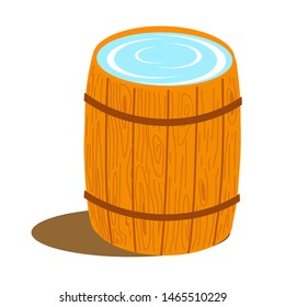 Wooden barrel with water on a white background. Vector illustration.