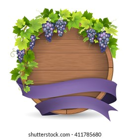 Wooden barrel for wine, grapes vine and purple ribbon. Winemaking label template.