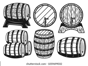 Wooden barrels different variants set of vector objects and graphic elements in vintage style isolated on white background
