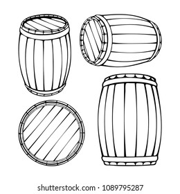 Wooden barrels vector hand drawn vintage style illustrations set. Barrel sketch in engraved style. Alcohol, wine, beer or whiskey old wood keg.