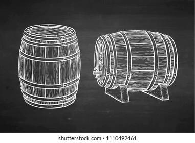 Wooden barrels of wine or beer. Chalk sketch on blackboard background. Hand drawn vector illustration. Retro style.