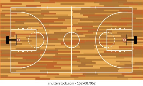 The wooden basketball court.A simulated basketball court with the same ratio as the court.