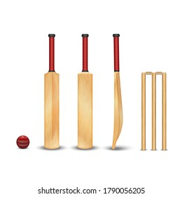 The wooden bat, wicket, the ball for the game of cricket, realistic 3D vector models with wooden texture of objects isolated on white, a set of sports equipment for cricket
