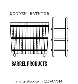 Wooden bathtub. Bucket made from wood. Flat icon for site, business.