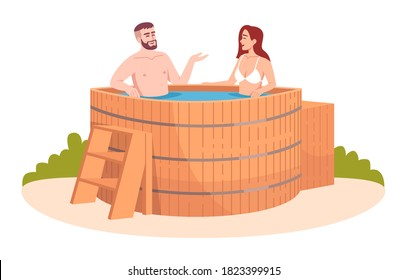 Wooden bathtub semi flat RGB color vector illustration. Japanese public resort. Wood tub for friends relaxation. Hot pool. Woman and man isolated cartoon characters on white background
