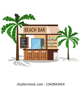 Wooden beach bar with palms tree, chair, trashcan with shadows isolated on white background. Summer restaurant with friger selling cold alcohol drinks, water. Vector cartoon flat style illustration..