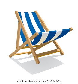 Wooden beach blue striped deck chair isolated on white. Vector illustration
