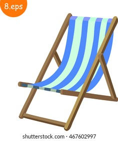 Wooden beach blue striped deck chair isolated on white. Cartoon, vector, flat style