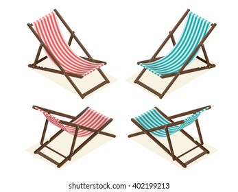 Wooden Beach Chaise, longue isolated on white background.