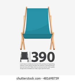 wooden beach chaise longue isolated on white background. Deck chair icon in flat design. Vector illustration.