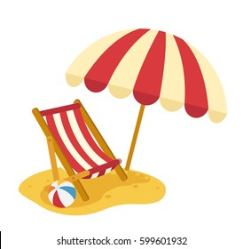 wooden beach chaise with umbrella vector illustration