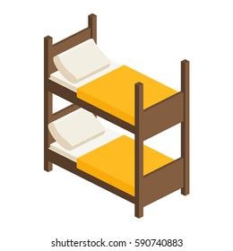wooden bed in two tiers with a mattress, a pillow and a blanket in isometric, bunk bed in flat style, vector illustration with layers isolated on white background