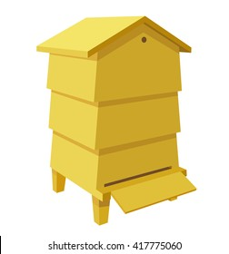 Wooden Beehive on a white background. Traditional  beehive. Cartoon illustration of a beehive. Stock vector