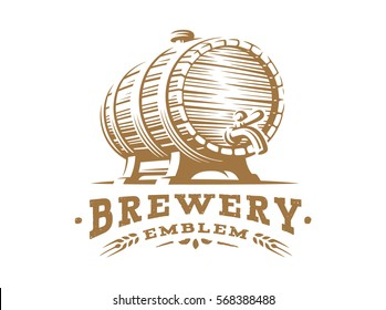 Wooden beer barrel logo - vector illustration, emblem brewery design on white background.