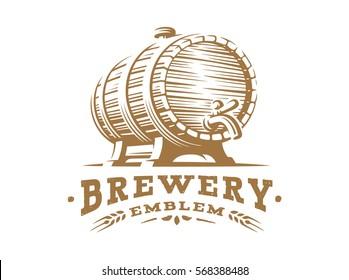 Wooden beer barrel logo - vector illustration, emblem brewery design on white background.