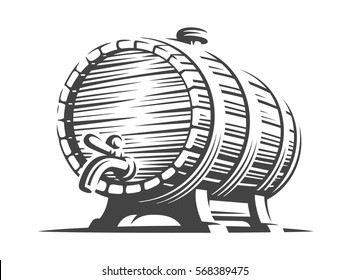 Wooden beer barrel - vector illustration, design on white background.