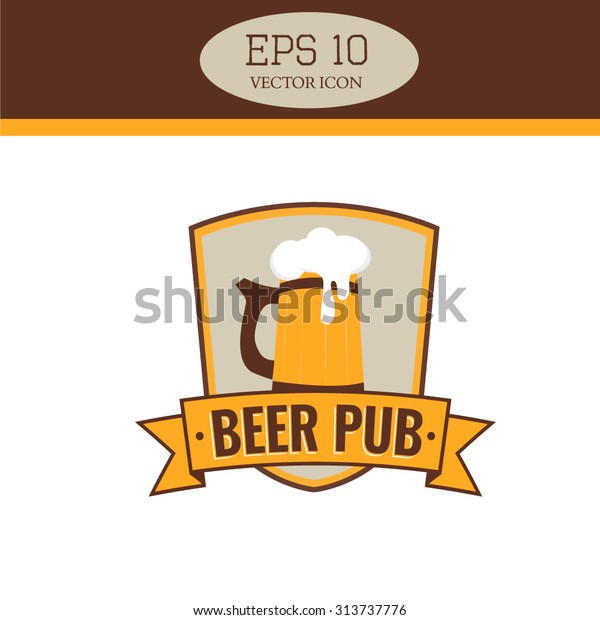wooden beer mug logo