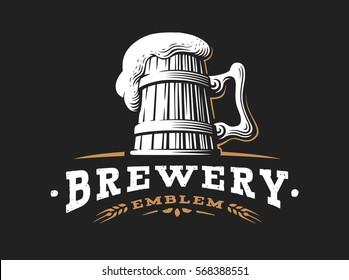 Wooden beer mug logo- vector illustration, emblem brewery design on dark background.