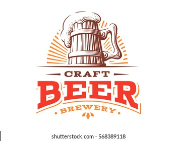 Wooden beer mug logo- vector illustration, emblem brewery design on white background.