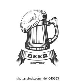 Wooden beer mug logo - vector illustration, emblem brewery design on dark background. EPS 10
