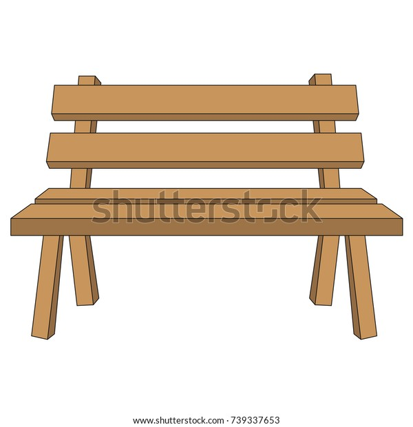 Marvelous Wooden Bench Cartoon Outlined Illustration Thin Stock Vector Squirreltailoven Fun Painted Chair Ideas Images Squirreltailovenorg