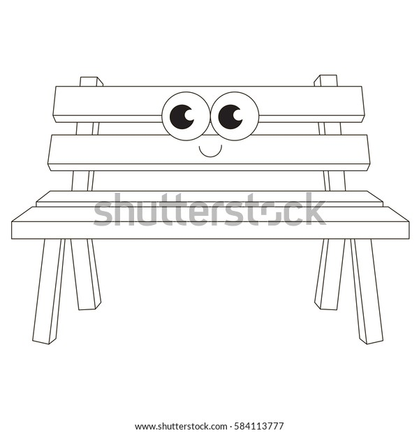 Terrific Wooden Bench Cartoon Outlined Object Black Objects Squirreltailoven Fun Painted Chair Ideas Images Squirreltailovenorg
