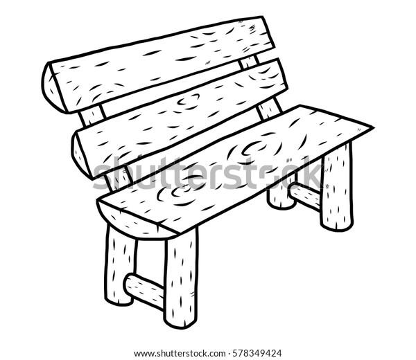 Strange Wooden Bench Cartoon Vector Illustration Black Stock Vector Squirreltailoven Fun Painted Chair Ideas Images Squirreltailovenorg