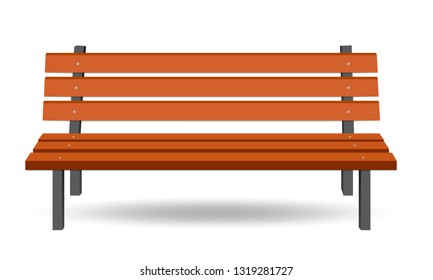 Wooden bench illustration. Park bench. Vector Bench isolated. EPS10
