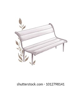 Wooden bench isolated on white background. Park furniture. Cute and romantic