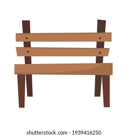 Wooden bench isolated on white background. Bench in a flat style.