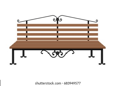 Wooden bench isolated on white background. City park bench with decorative iron elements. Vector illustration in flat style