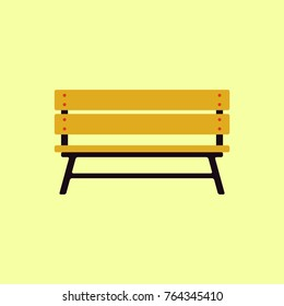 Wooden bench isolated on white background. Park brown vector bench in flat style clear vector