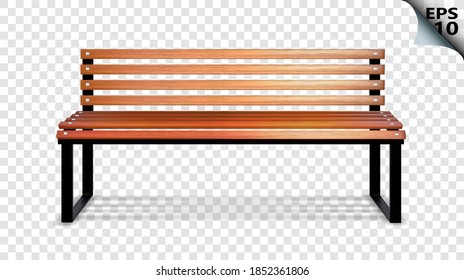 Wooden bench for the street. Vector illustration on a transparent background.