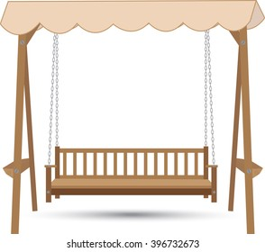 wooden bench swing with a roof made of cloth hanging on chains