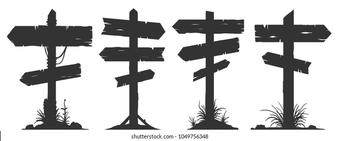 Wooden billboard banners, directional signboards and pointing guideposts. Vector silhouette elements.