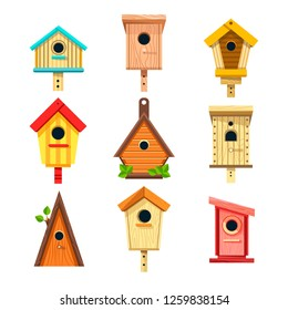 Wooden birdhouses isolated icons nesting boxes to hang on tree rectangular and triangular shapes constructions to feed birds small buildings of planks with hole and green leaves cartoon vector.