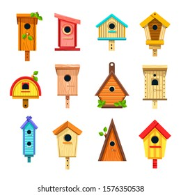 Wooden birdhouses, isolated icons nesting boxes to hang vector. Bird feeder, tree buildings of planks with hole and green leaves, construction. Handmade craft or handicrafts of wood and nails