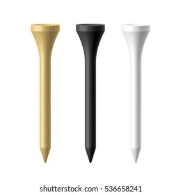 Wooden, black and white golf tees vector illustration