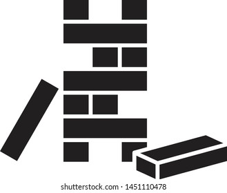 Wooden block icon, wooden toy icon , vector line illustration