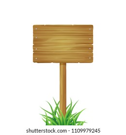 Wooden board with grass. Vector illustration isolated on white background