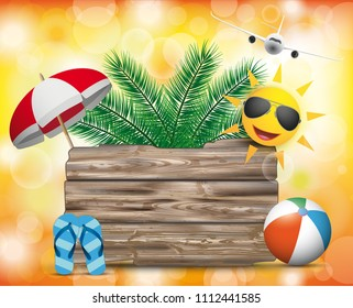 Wooden board with jet, sun, palms, sunshade and flipflops on the orange bokeh background. Eps 10 vector file.